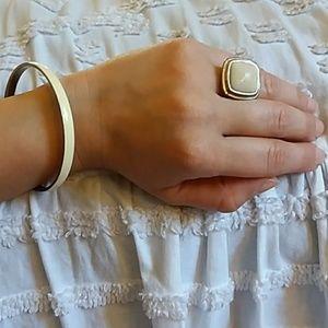 Ivory & gold toned ring & bangle bracelet